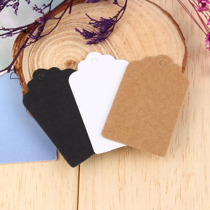 100pcs/bag Kraft Paper Tags Scallop Head Label Luggage Christmas Wedding Party Note Blank Price Hang tag Kraft Gift Hang Tag