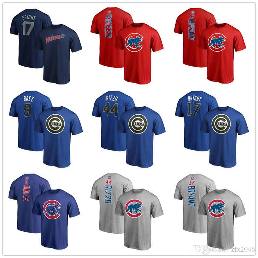 big sale d3467 5699f Chicago Baseball jersey Cubs 9 Baez 44 Rizzo 17 Bryant T-shirts mens  designer short Sleeve Fans Tops Tees printed Team and brand logos
