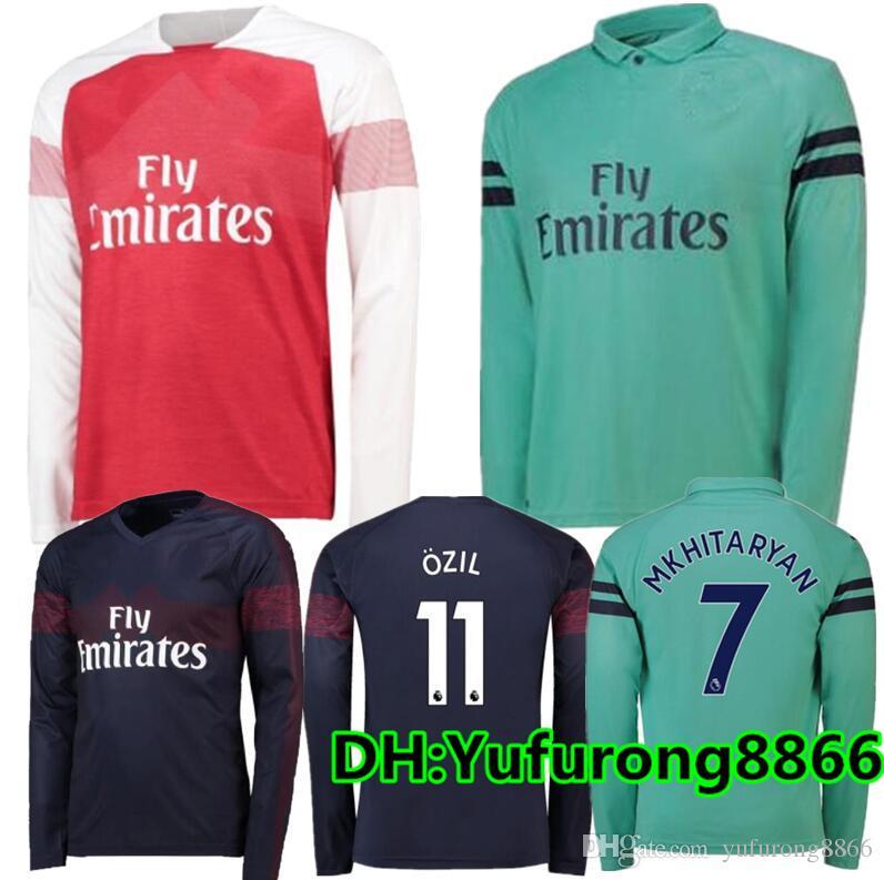 Camiseta De Fútbol De Manga Larga De Local Del Arsenal 18 19   7 MKHIARYAN  Camiseta De Fútbol De Manga Larga 2018 2019   10 OZIL   14 Uniformes De  Fútbol ... 9a6198f400ad4