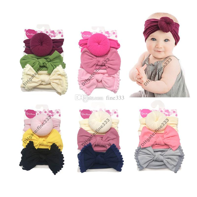 Bandanas 3 Package-baby hat Solid Turban a headscarf for a girl Elastic caps for Girls baby cap Bow tie baby Infant Accessories