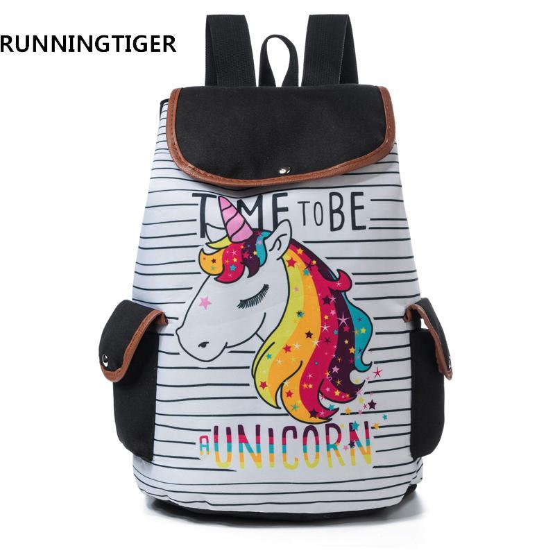 2019 FashionRUNNINGTIGER 3D Unicorn Printed Women Backpack Casual School  Bags For Teenagers Canvas Girl School Backpacks Rucksack Female Rolling  Backpack ... cd3fa232baea8