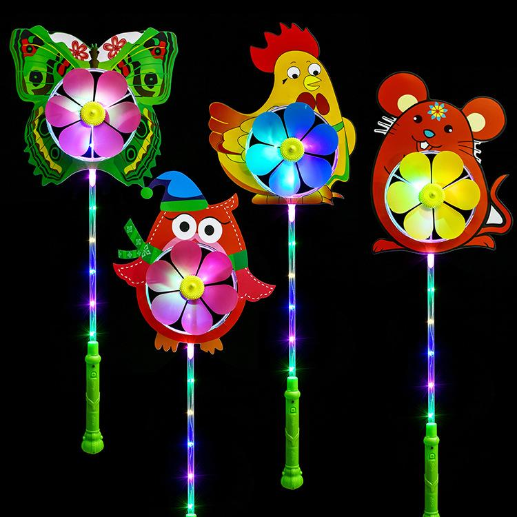 New handle luminous windmill led lamp cartoon colorful flashing windmill stick stall toy wholesale