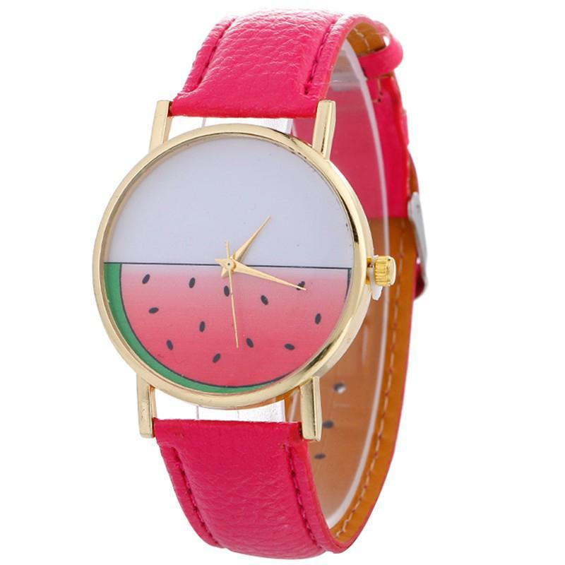 LinTimes Watermelon Student Wristwatch Analog Faux Leather Strap Quartz Watch for Women