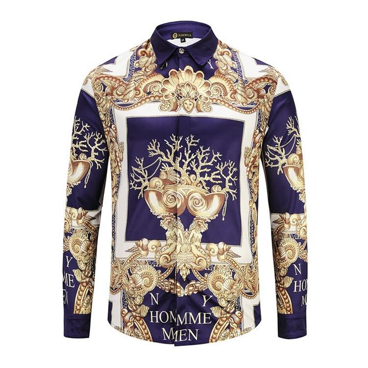 Golden Men s Wear Man Long Sleeves Keep Warm Shirt Plus Mens Printed ... 30fc3cbc59db