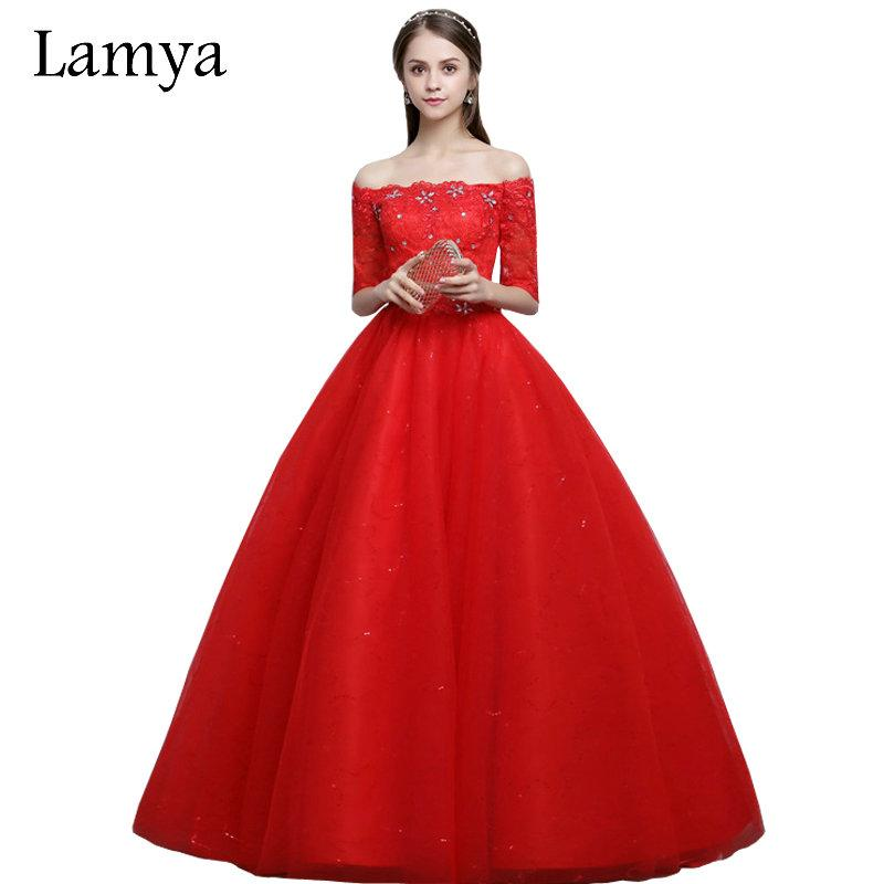 Wholesale Vintage Red Boat Neck Wedding Dresses With Short Sleeves