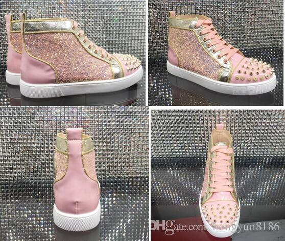 f1f7ef365f5 Summer Couple Spikes High Top Red Bottom Sneakers Pink Glitter Leather  Women Perfect Leisure Party Dress Shoes,Red Sole Luxury Trainer