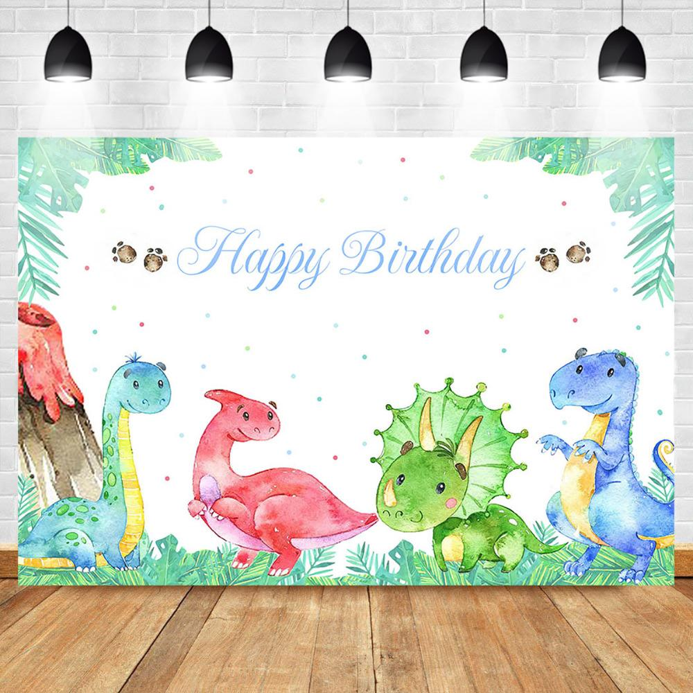 Mehofoto Dinosaur Theme Backdrop Birthday Party Photo Backdrops Green Leaves Woodland Cake Table Banner Photography