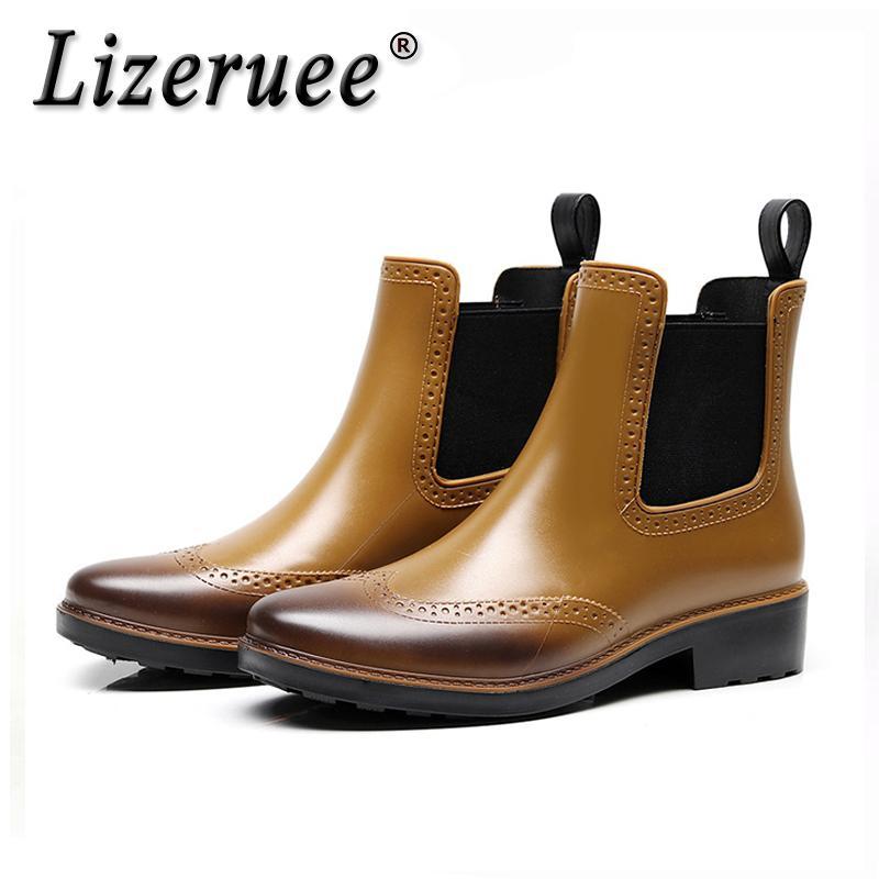 Nuevas Impermeables Cs542 Bota Goma Lluvia Tobillo Elástica Zapatos Lizeruee 2019 Pvc Para Mujer Mujeres Botas De jL5A34R