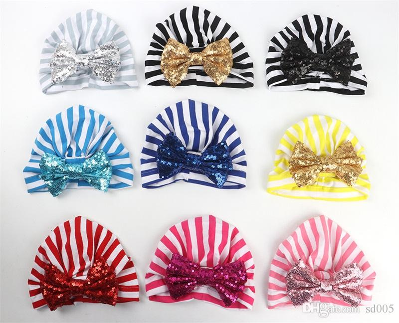 Sequins Tie Bow Beanie Hats Printing Mulit Colors Stripe Sleeve Head India Hat Bohemia Skull Caps Fashion Chlidren 5yd E1