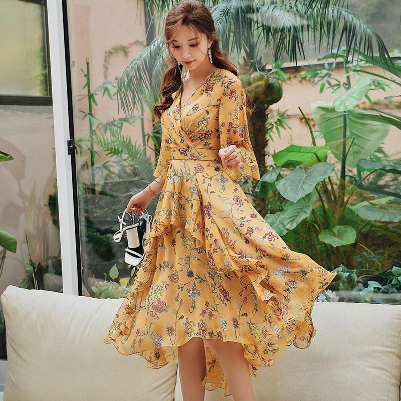6b51b1e204a55 Dabuwawa Spring V Neck Ruffles Print Maxi Dress For Girls Women 2019 ...