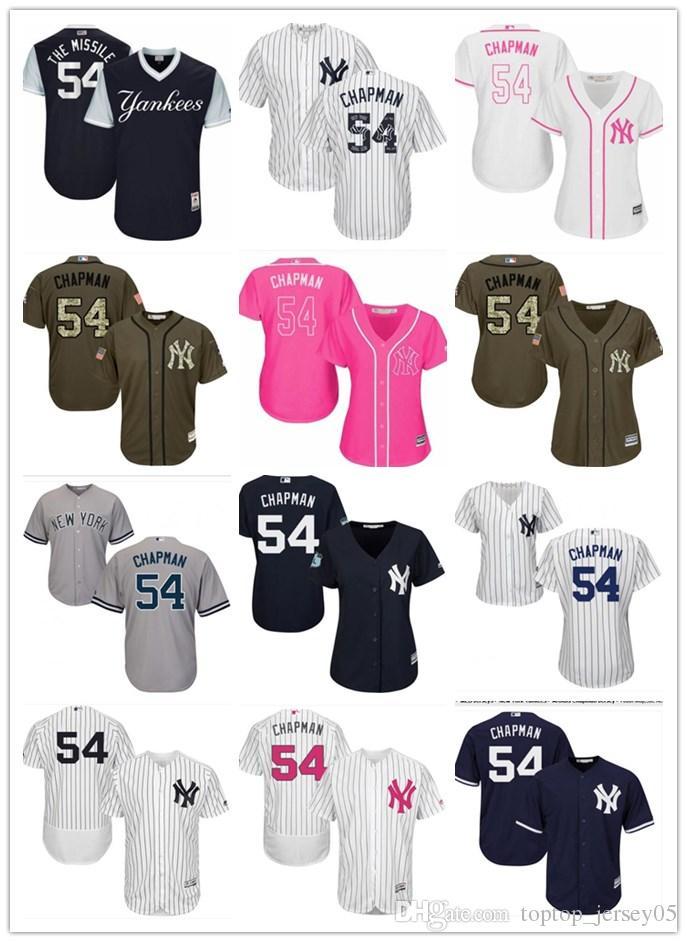 Compre 2018 Top Jerseys De Los New York Yankees   54 Aroldis ChapmanJerseys  Hombres   MUJER 681bf5e7965
