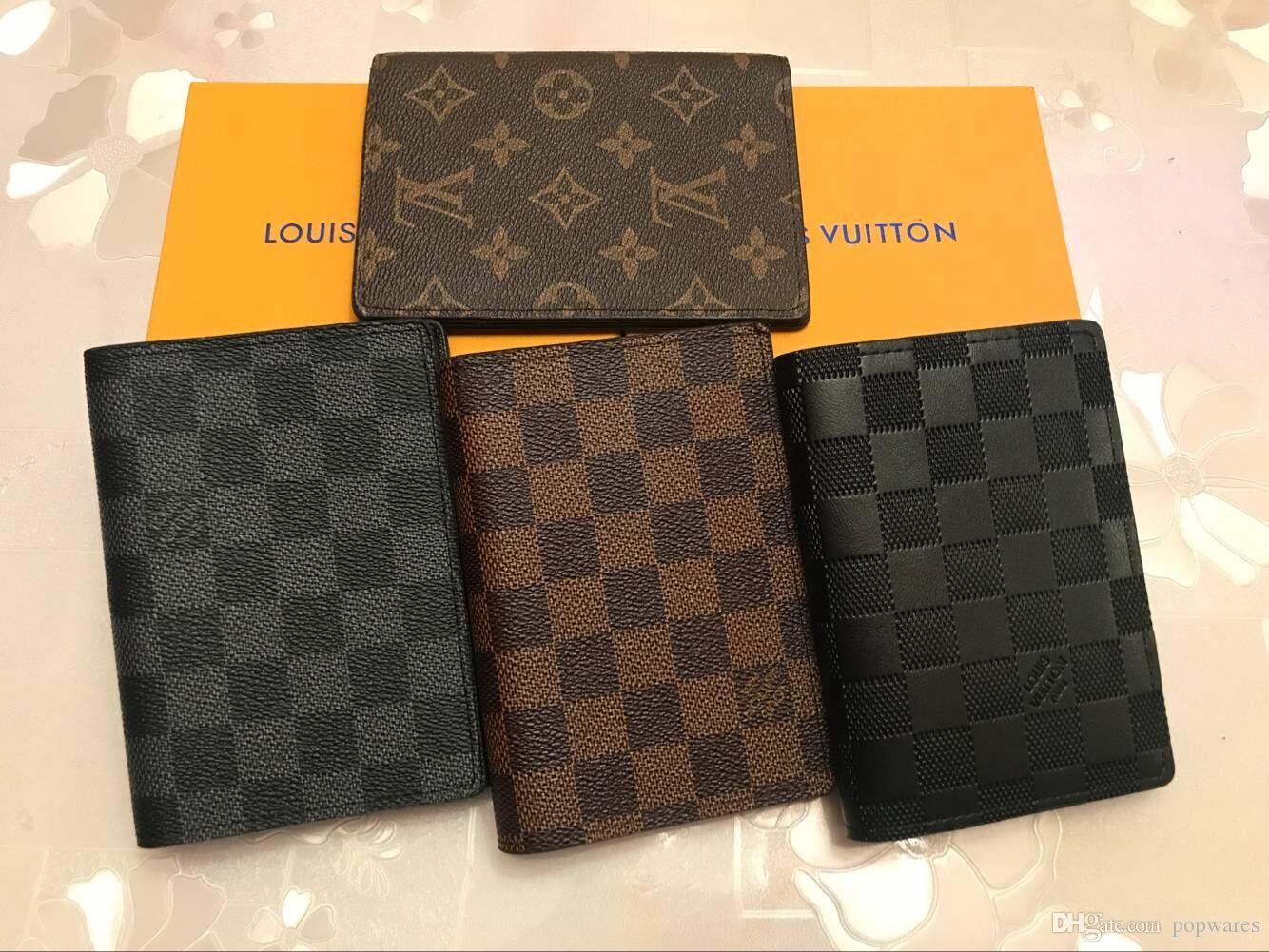 646a776bf8 2019 Luxury Designer Brand Mens Wallet Men s Card Holder Leather Women  Purse Covers For Passports Carteira Masculina
