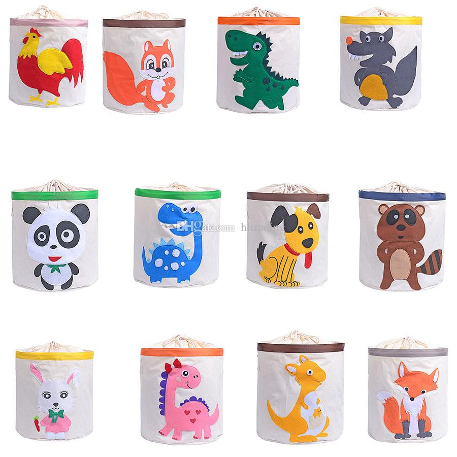 Cartoon Animal Printing Drawstring Storage Bins Kids Toys Storage Baskets Washable Buckets Laundry Bag Dirty Clothing Organizer C5792