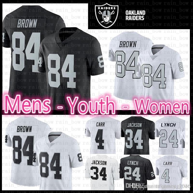 2b60a8921 2019 MEN YOUTH WOMEN Oakland 84 Antonio Brown Raiders Jersey 4 Derek Carr  24 Marshawn Lynch 34 Bo Jackson Black White Limited Football Jersey From ...