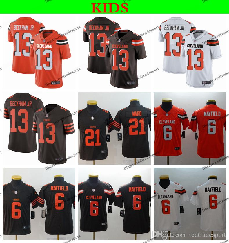 2ad2445102e 2019 Youth Cleveland Kids Browns Mayfield Football Jerseys 6 Baker Mayfield  21 Denzel Ward 13 Odell Beckham Jr. Stitched Football Shirts S XL From ...