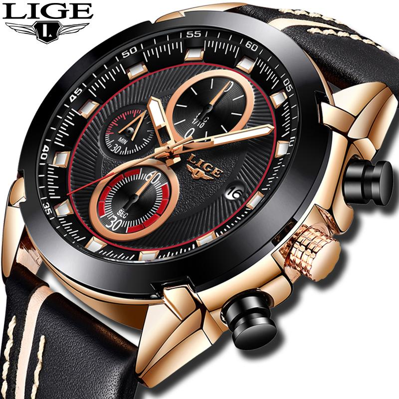 591fdf183 2019 LIGE new watch men s fashion business top brand luxury quartz watch  men s uniform waterproof sports casual leather
