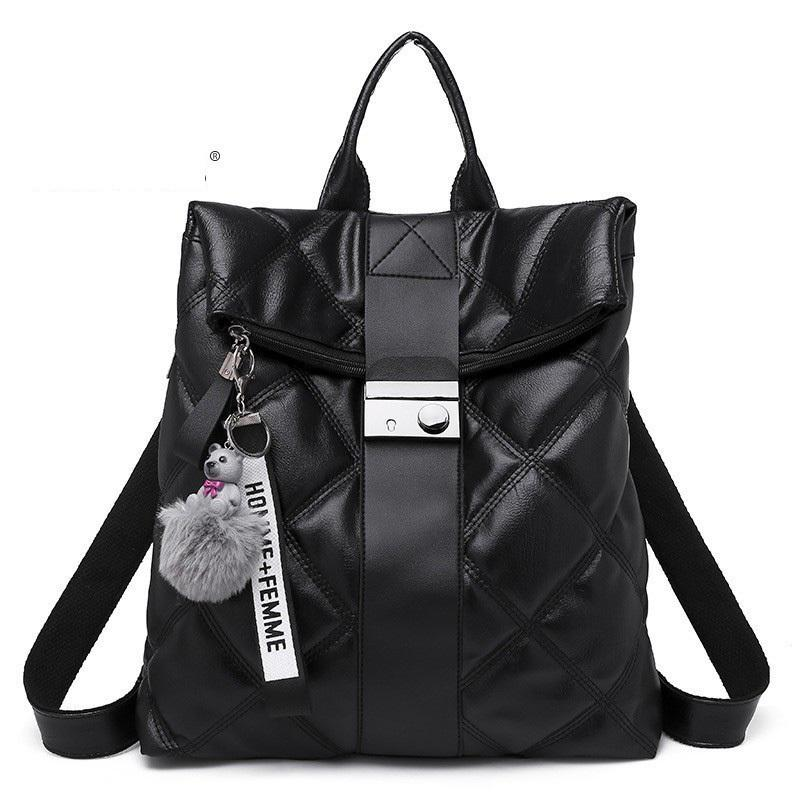 good quality New Backpack Women Travel Bag Leather School Rucksack Metal Button Solid Large Capacity Zaino Mochila Escolar Feminina