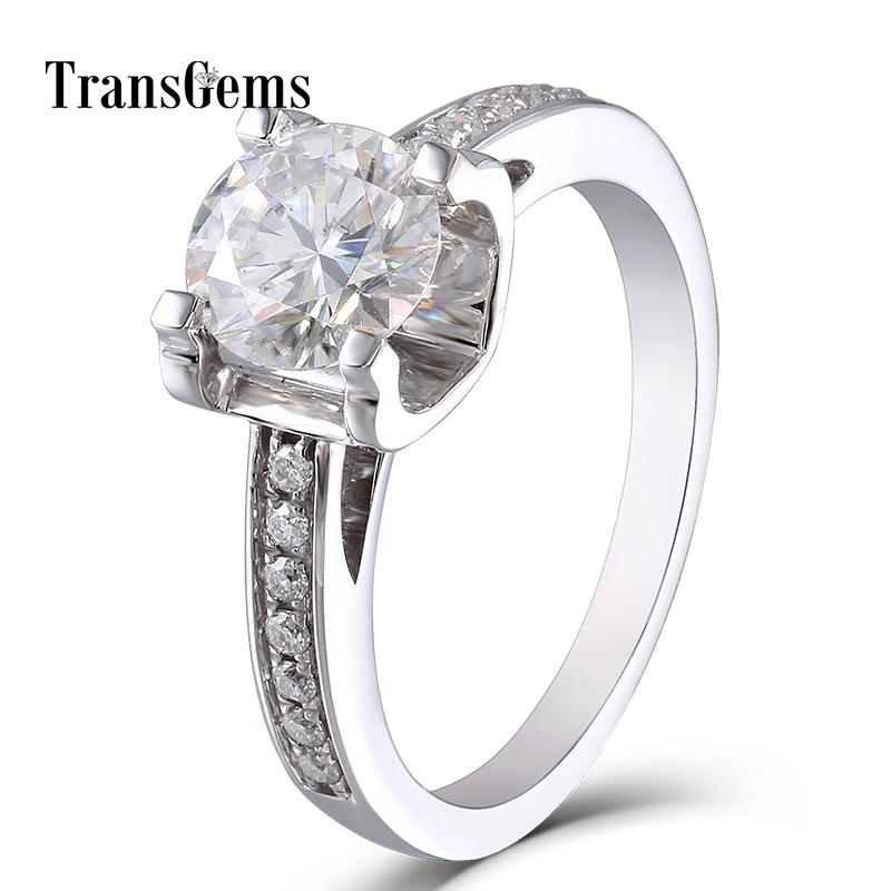 Jewelry & Watches 14k Solid Rose Gold 2.00 Ct Round Bridal Moissanite Engagement Ring Size J 058