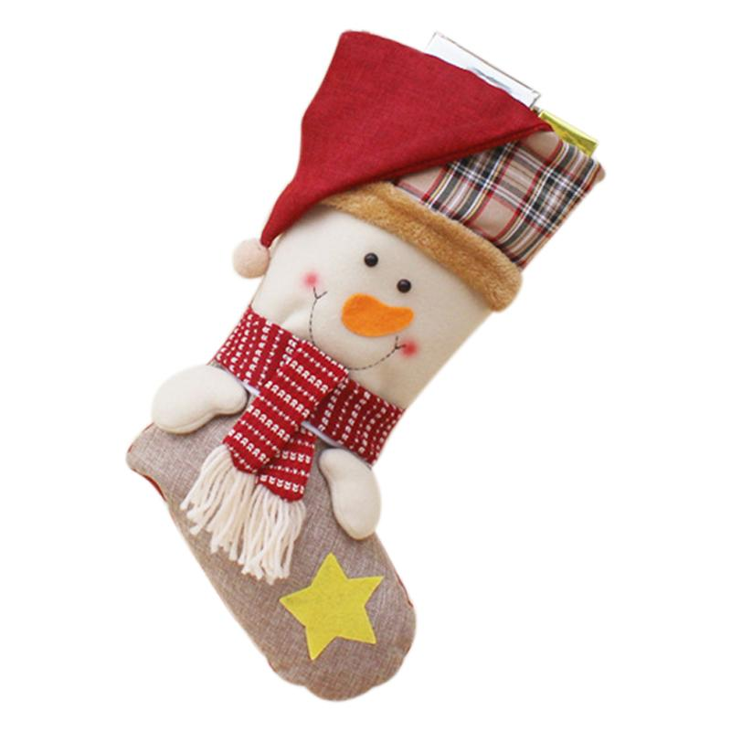 Christmas Stockings Santa Claus Sock Gift Kids Candy Bag Xmas Noel Decoration for Home Christmas Tree Ornaments(snowman)