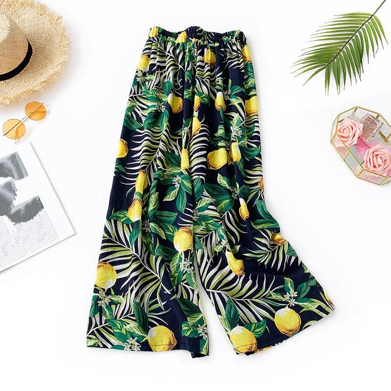 2019 Summer New Women Wide Leg Pants Cotton Linen Floral Print High Waist Bohemian Pants Female Beach Casual Trousers