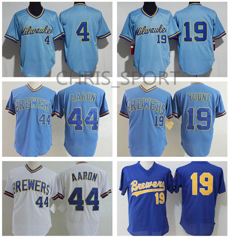 buy popular 10446 280c1 Men s batting practice baseball jerseys #4 Paul Molitor 19 Robin Yount 22  Christian Yelich 44 Hank Aaron throwback royal blue jersey