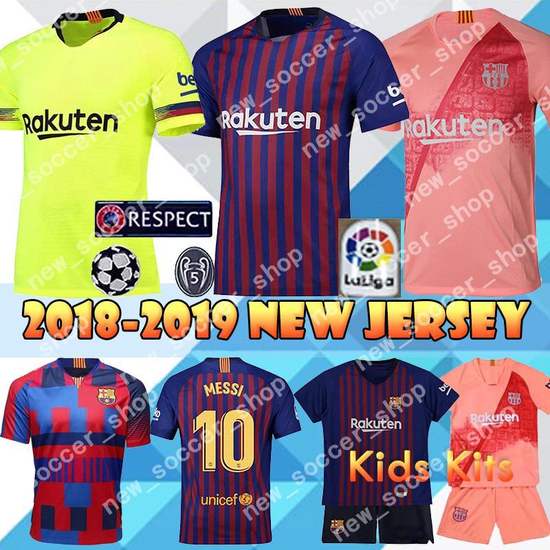 check out 9c590 dcb41 2018 New Barcelona Jerseys 10 Messi 9 Suárez 7 Coutinho Football uniforms 4  Ivan Rakitic 18 Jordi Alba Away Home Soccer Jerseys