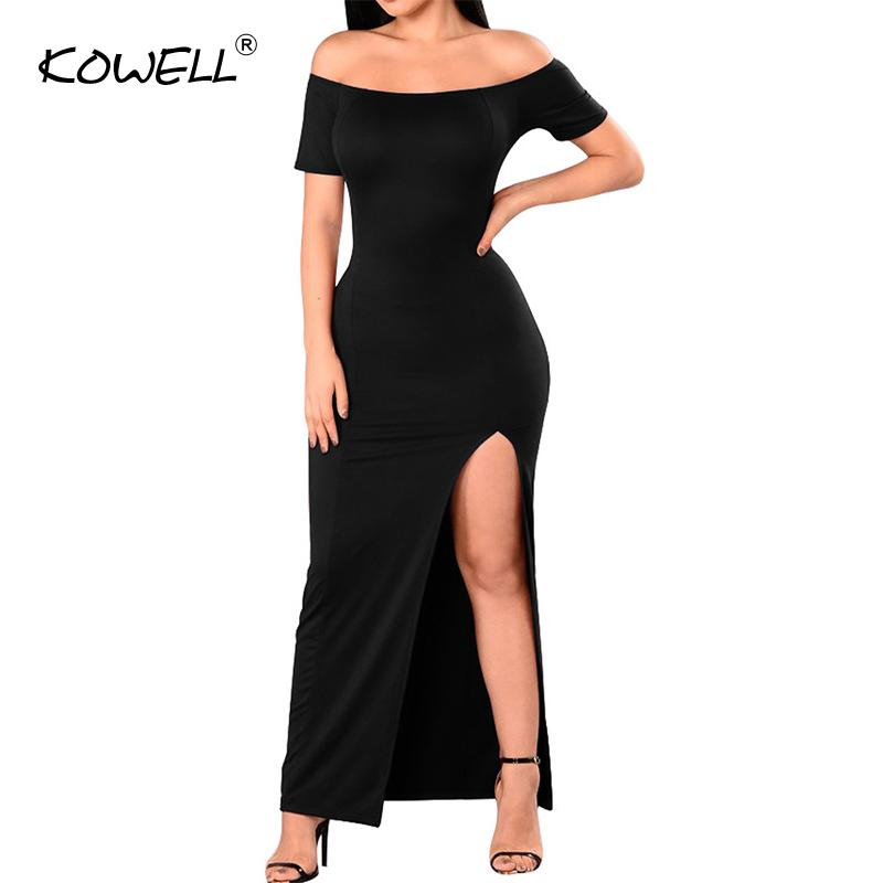 fcf09ceedbc 2019 Sexy Off Shoulder Maxi Dress Autumn Women Slash Neck Short Sleeve  Clothing Vestidos Bodycon Party Plus Size Long Dresses Ball Dress Club Dress  From ...