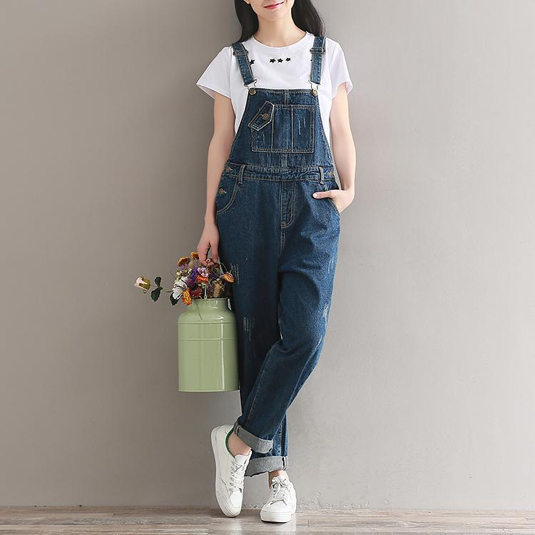 Classic Ripped Light Blue Denim Overalls For Women Casual Loose Rompers Womens Jumpsuit Plus Size Wide Leg Pockets Baggy Pants Bottoms