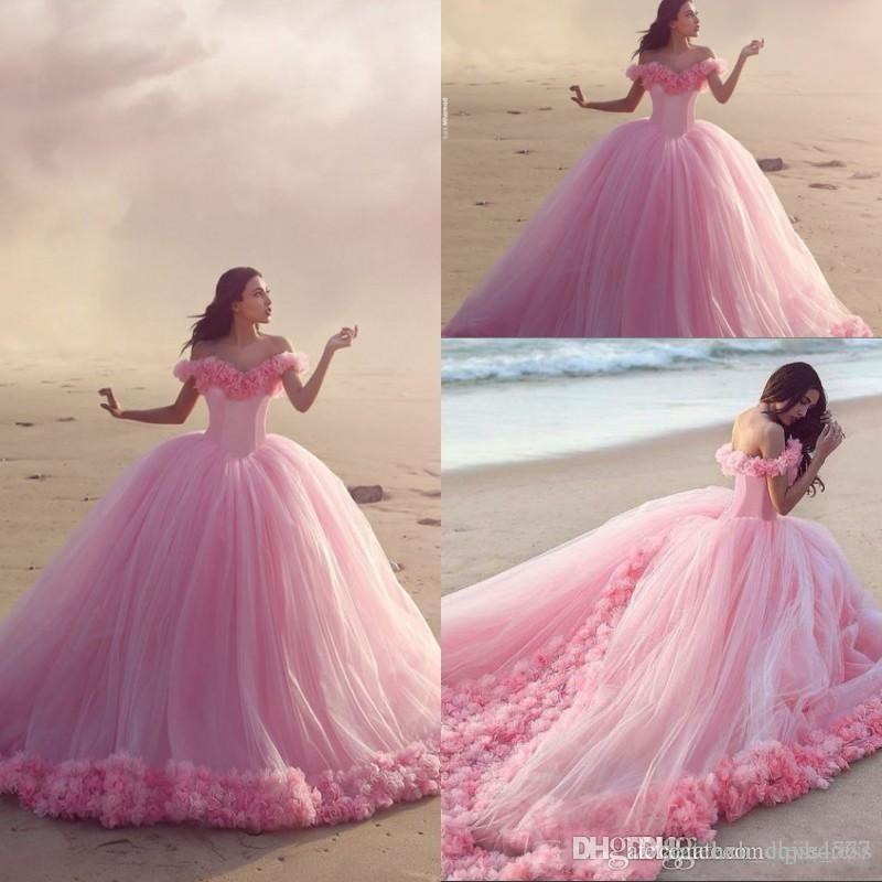 Baby Pink Ball Gowns Off the Shoulder Corset Hot Selling Sweet 16 Prom Dresses with Hand Made Flower Custom 2019 Elegant Quinceanera Dresses
