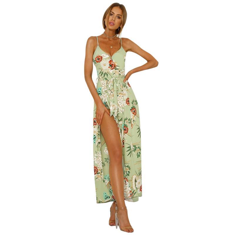 141601374f4 Compre Moda De Verano Monos Para Mujer 2019 Impreso Floral Correa De  Espagueti Mono V Corbata Cintura Raja Romper Traje Ropa De Playa A $32.17  Del Feeling02 ...