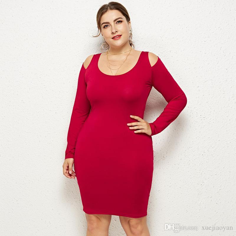 a019cfce86e60 Satın Al Toptan Giyim 2019 Bahar Şişman Bayanlar L XXXL Artı Büyük Boy  Kokteyl Parti Elbiseler Büyük Kızlar Elbise Kadınlar, $15.08 | DHgate.Com'da