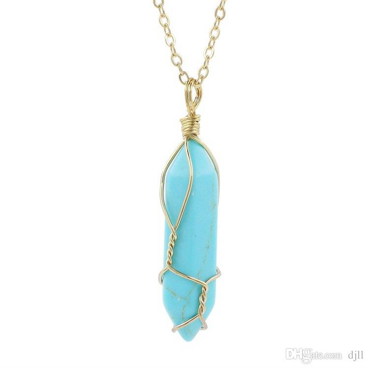 Natural Stone Necklaces Women Hexagonal Column Pendant Blue Turquoise Sweater Chain Pink Purple Crystal Charm Necklace Gemstone Jewelry