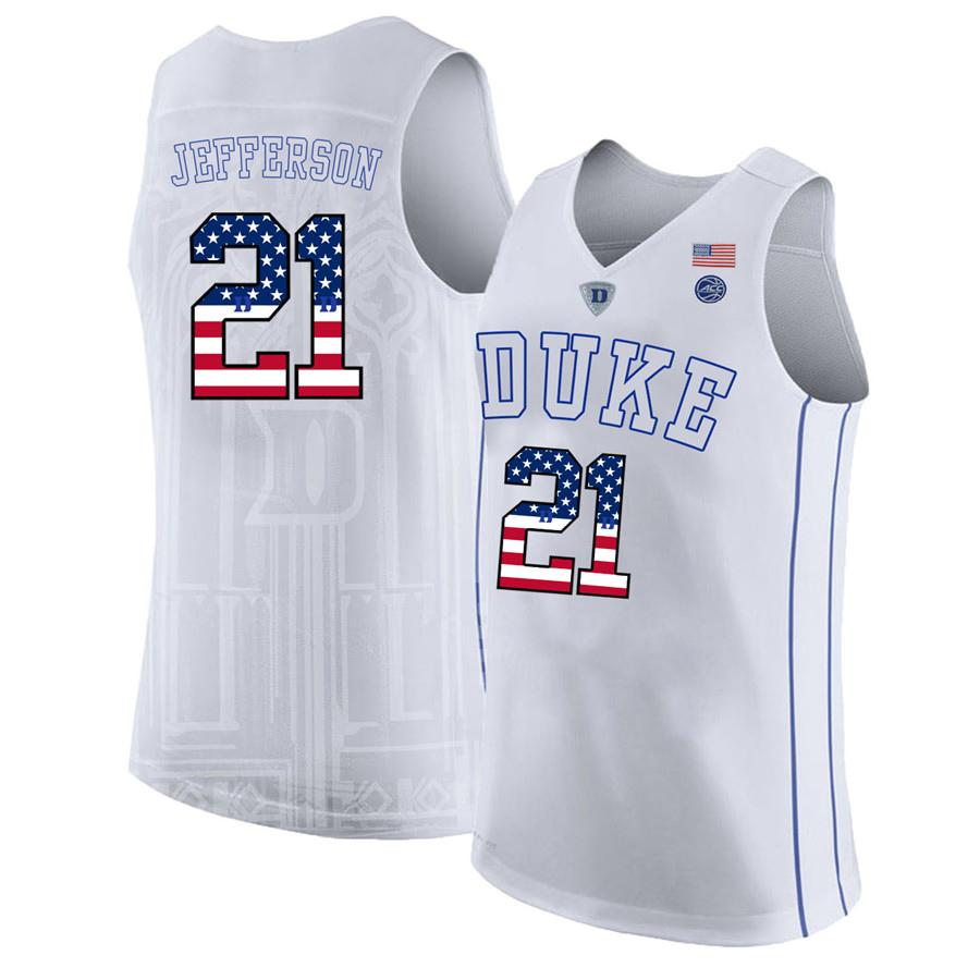 detailed look 08153 9ed5c Mens Amile Jefferson Jersey Custom Duke Blue Devils College Basketball  Jerseys Fashion USA Flag High Quality Stitched Size S-2XL