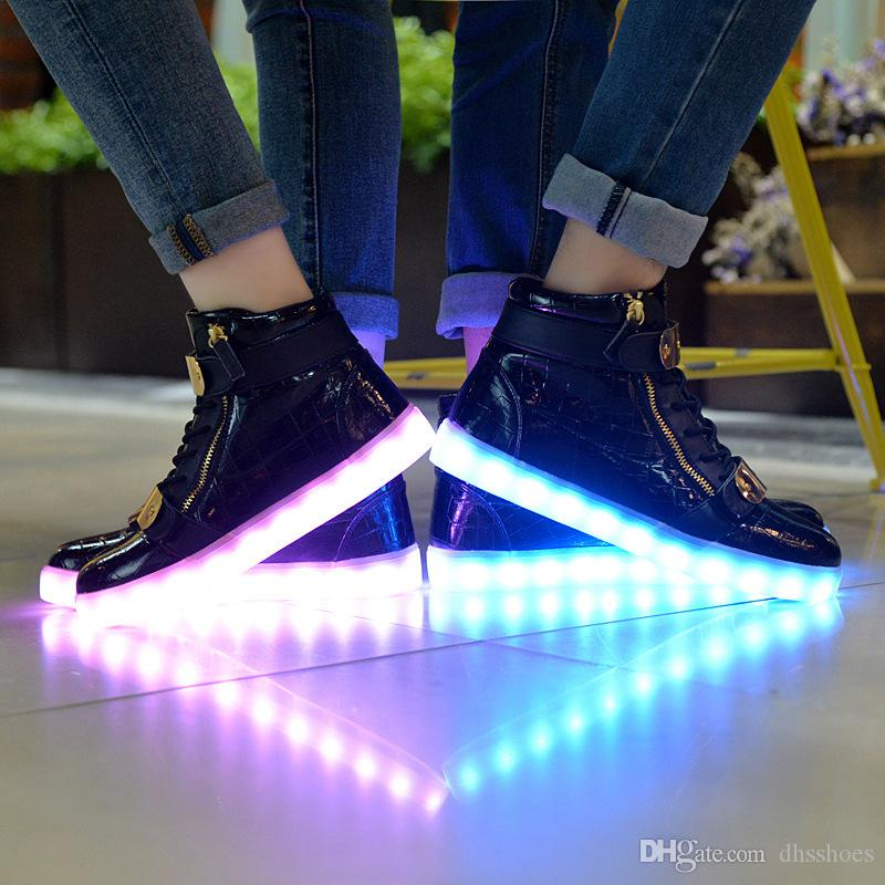 f5d09c523f5 New High-top Couple LED Light Shoes Summer Korean Version of Street ...
