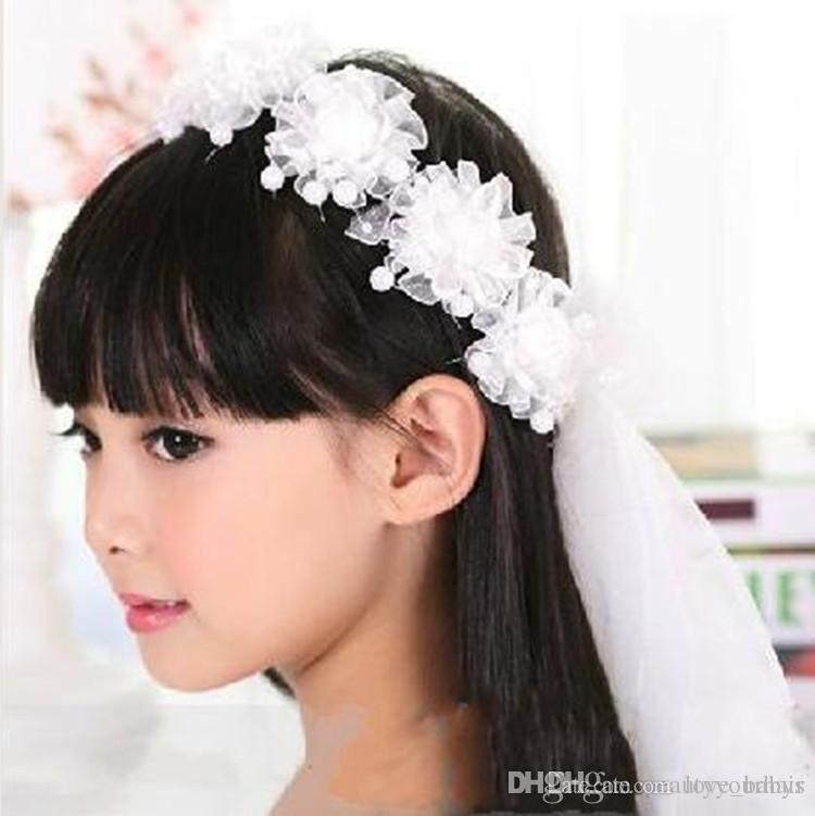 Baby Lace hair bows Headband Children Kids hair Accessories Princess Flower Hair bands hairpins with pearl