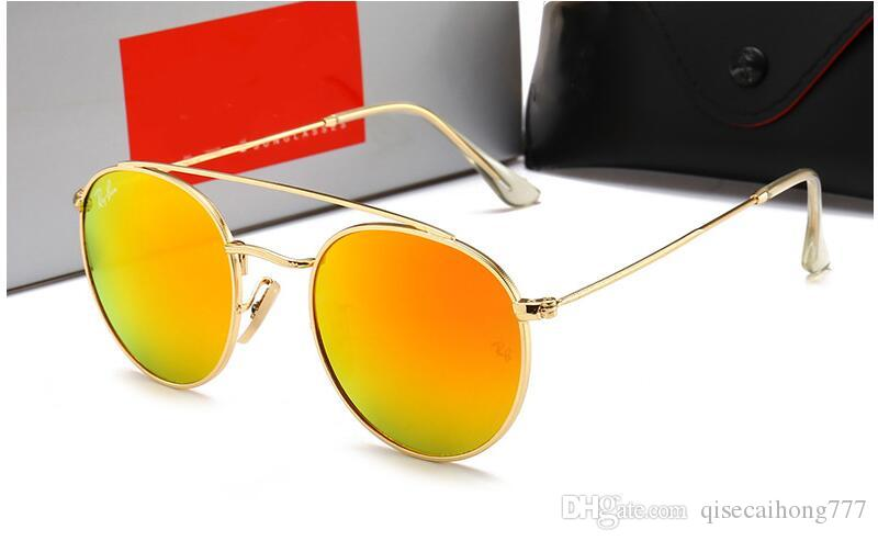 New glass sunglasses for men and women outdoor small round frame color film sunglasses 1806