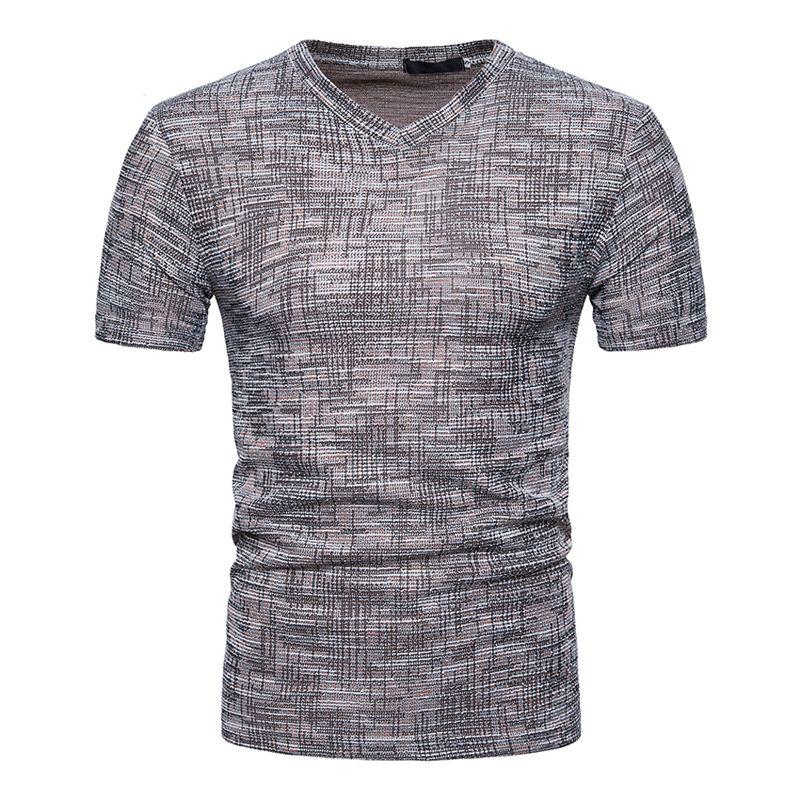 c4b6e91487d2 2019 Brand New Clothing Summer Fashion Men's T-shirts Cotton Linen Short  Sleeve Tees Casual V-neck T Shirt For Men Dropshipping