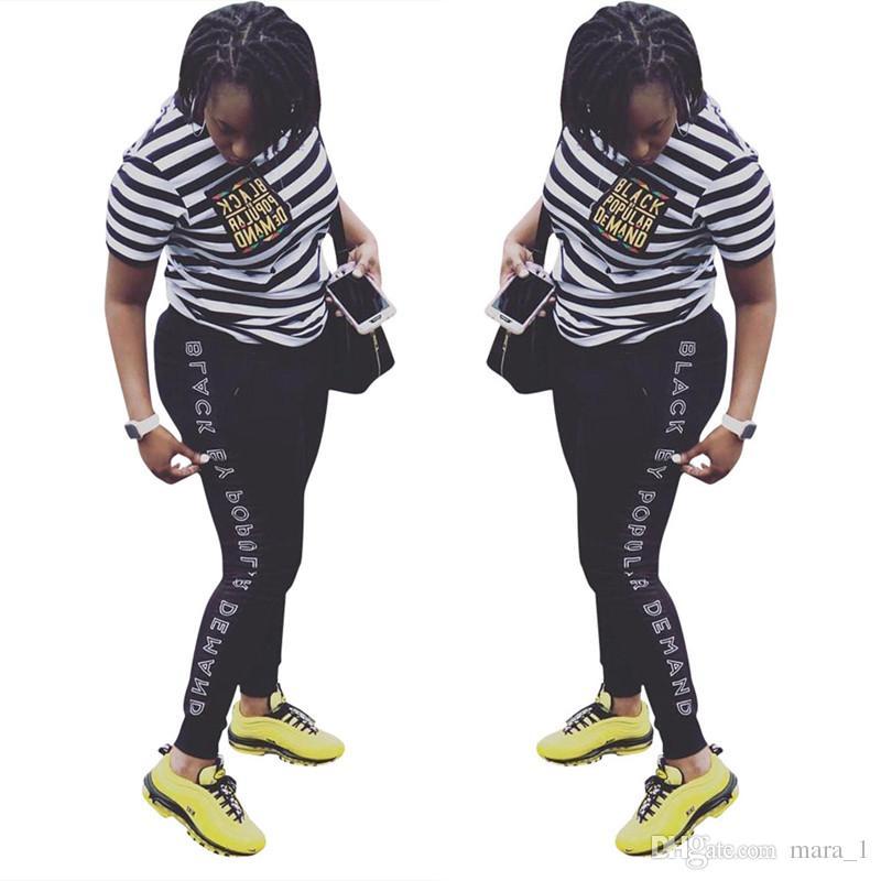 Großbritannien Kauf echt am billigsten frauen jogger anzug zweiteilige set t-shirt leggings trainingsanzug kurzarm  hemd hosen sportbekleidung gestreiftes t-shirt tops outfits sommerkleidung