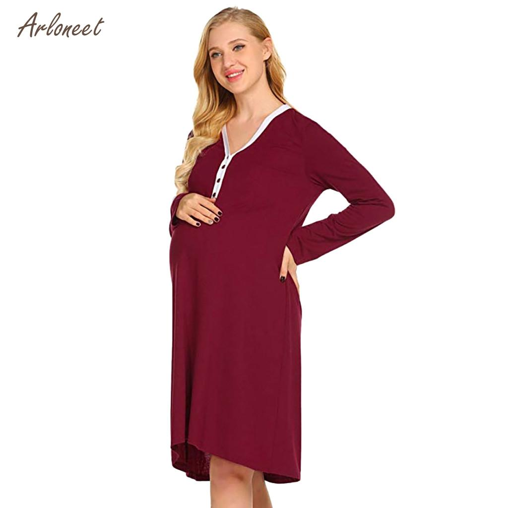 3d6c177f8fa 2019 ARLONEET Plus Size Pregnant Maternity Nursing Robe Delivery Nightgowns  Hospital Breastfeeding Gown 2019 Fashion Pajamas From Cassial, $43.08 |  DHgate.