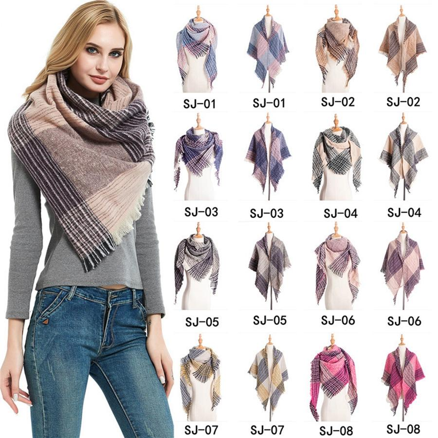 Soft Women Plaid Scarf Fashion Winter Warm Knitting Triangle Bufandas Mujer Classic Lattice Shawls Manta Wrap LJJT1609