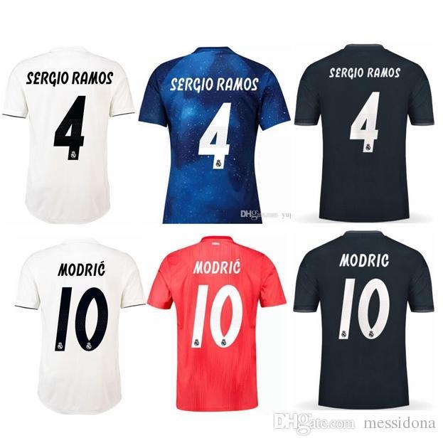 bbaca5b1a2b88 2018 19 REAL MADRID SERGIO RAMOS RONALDO BALE KROOS MODRIC tailândia  qualidade futebol camisa de futebol kit de futebol camiseta futbol maillot  de pé