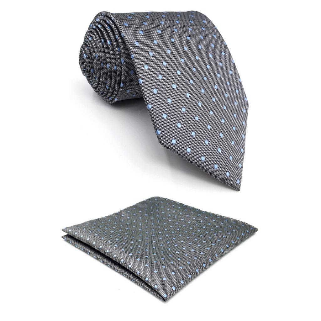 7ada3a918707 Grey Polka Dots Mens Necktie Silk Fashion Dress Wedding Groom ...