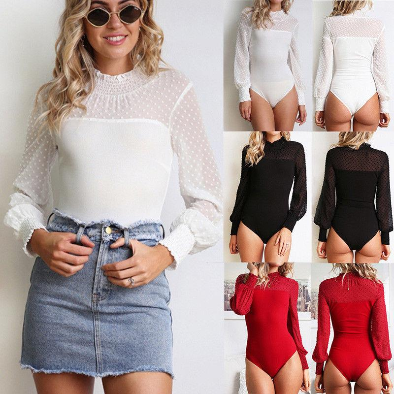 90aeb90cc88 Brand New Sexy Women Long Sleeve Shirt Jumpsuit Bodysuit Stretch Leotard  Top Blouse TShirt Solid Dot Feather Female Clothing
