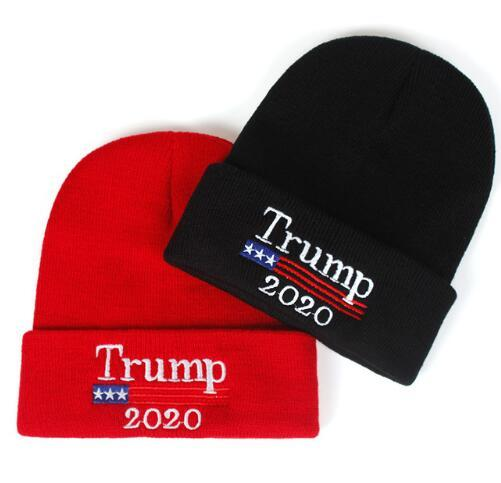 Embroidered Trump 2020 Beanies Knit Winter Hats Women Men Junior Kids Skull Caps Sports Skiing Outdoor Hat Solid Color Casquettes B81301