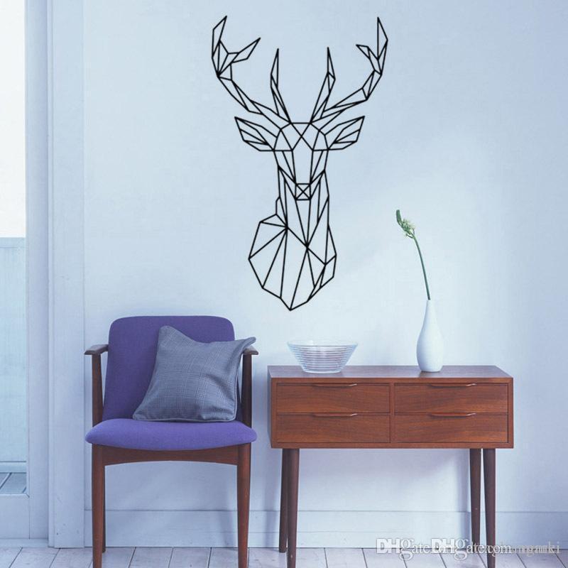 new design geometric deer head wall sticker geometry animal series