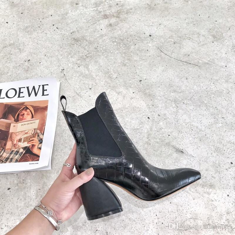 Fashion boots 2019 new sexy high heels Leather Suede elastic boots Heavy heel metal woman shoes zipper luxury Square head Short sj19092730