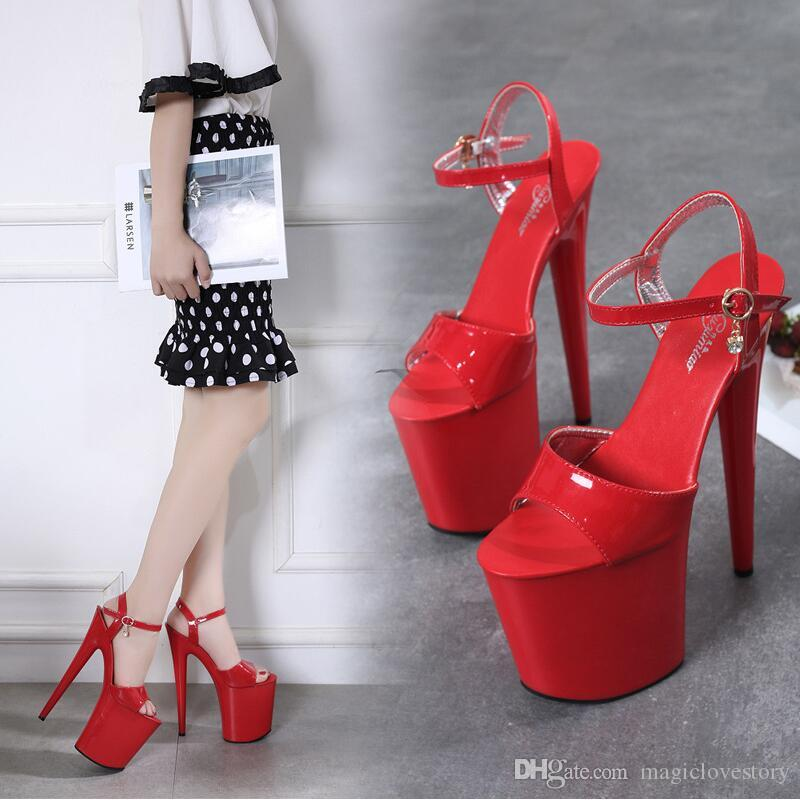 Red 20cm High Heeled Sandals Women Fetish Sexy Ankle Strap Buckle Summer Heels Dress Shoes Woman Open Toe Stage Show Magazine Platform Shoe