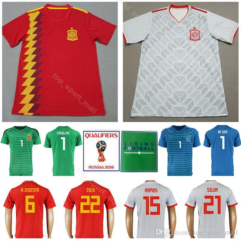 53a917244e2 2019 2018 Spain Jersey Soccer World Cup 6 INIESTA 15 SERGIO RAMOS 21 SILVA  Football Shirt Kits Custom Name 22 ISCO 19 DIEGO COSTA From Top sport mall