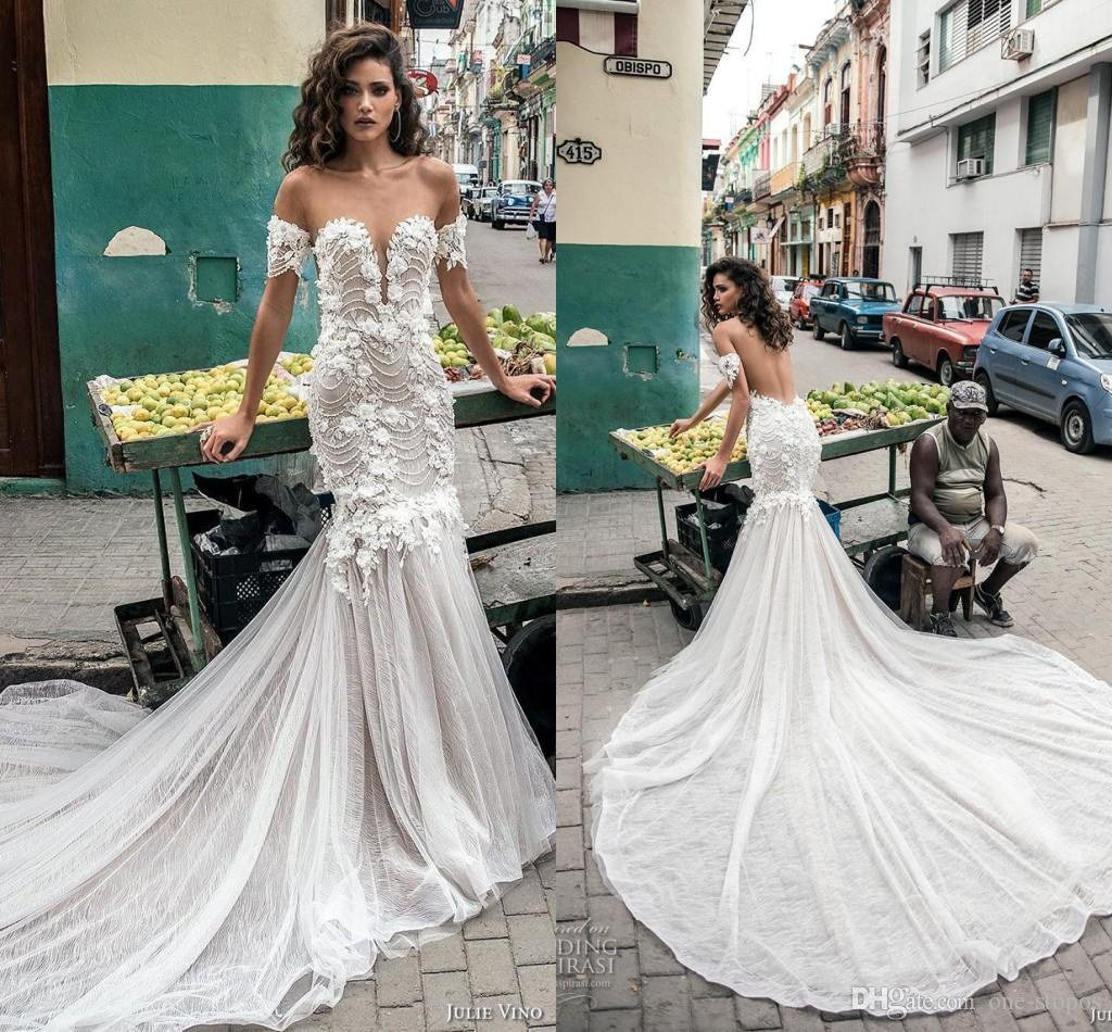 e04ee61b5c8 New Off Shoulder Wedding Dresses 2019 White Mermaid Lace Appliques Vintage Cheap  Long Train Plus Size Bridal Gowns Gown For Wedding Gowns For Wedding From  ...