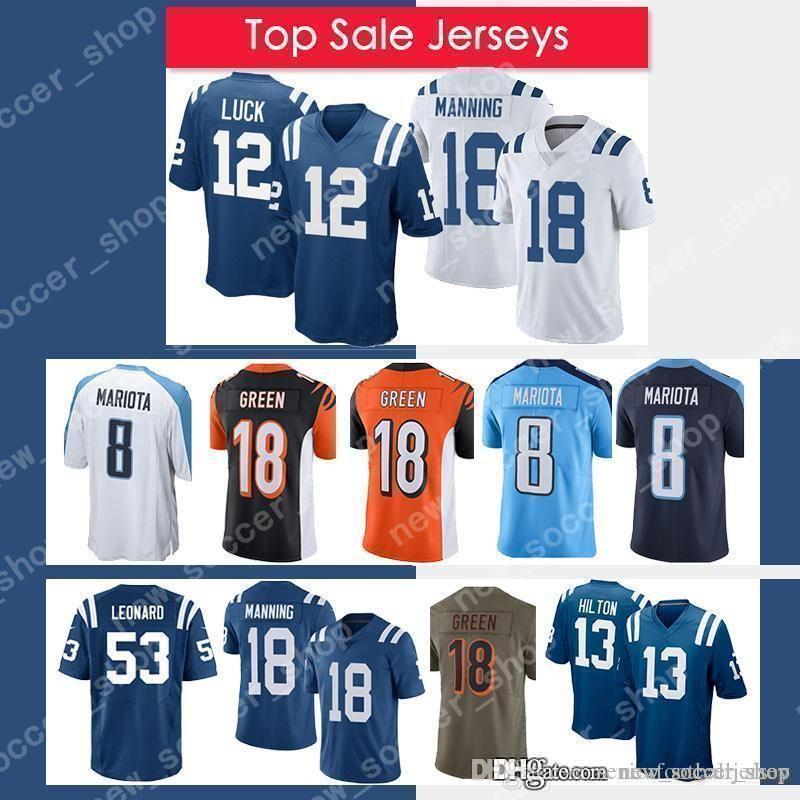the latest 96ba0 f8d3b 12 Andrew Luck 53 Darius Leonard Colts Jersey 13 Ty Hilton 18 Peyton  Manning 18 A.J. Green 8 Marcus Mariota Titan Jerseys